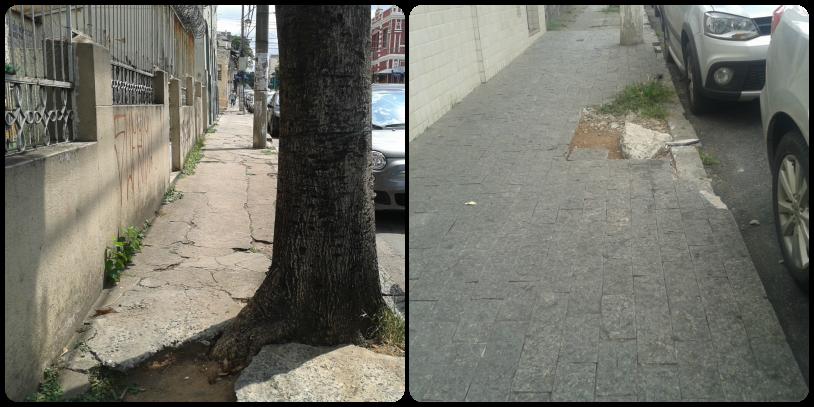 calçadas com buracos